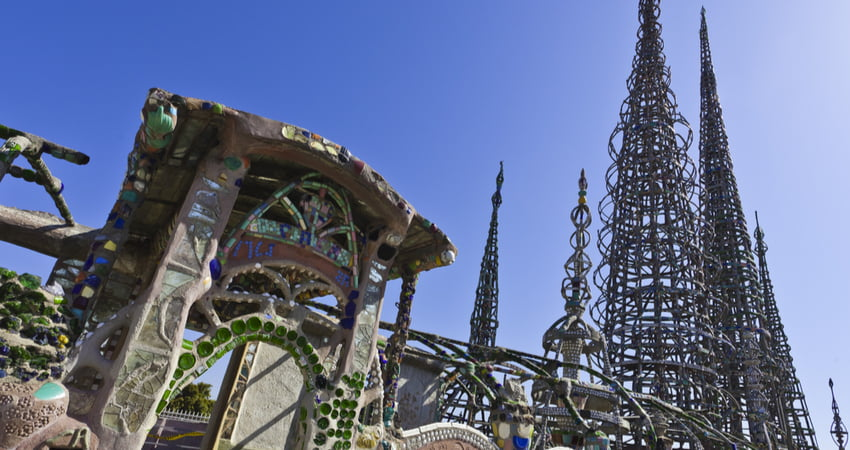watts towers and watts tower gate in los angeles