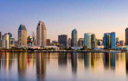 a view of the san diego skyline from across the water