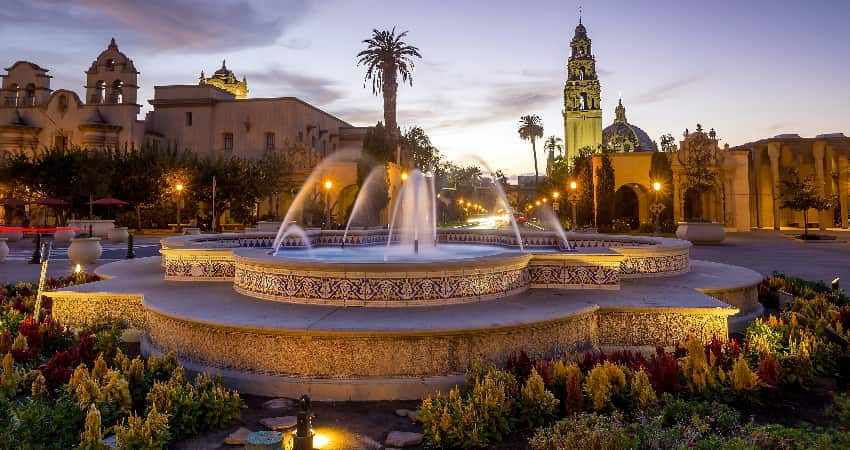 A fountain in the gardens of Balboa Park at sunset