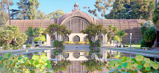 Casa Del Prado and pond in Balboa Park in San Diego
