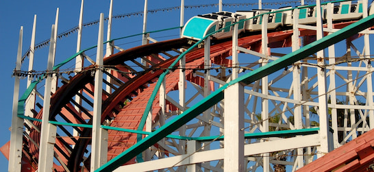 the historic Giant Dipper wooden roller coaster at Belmont Park in San Diego